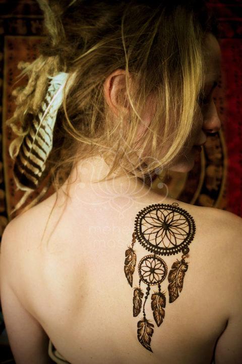 tatuaż z henny wzory lotos na plecach wzory mehendi łapacz snów