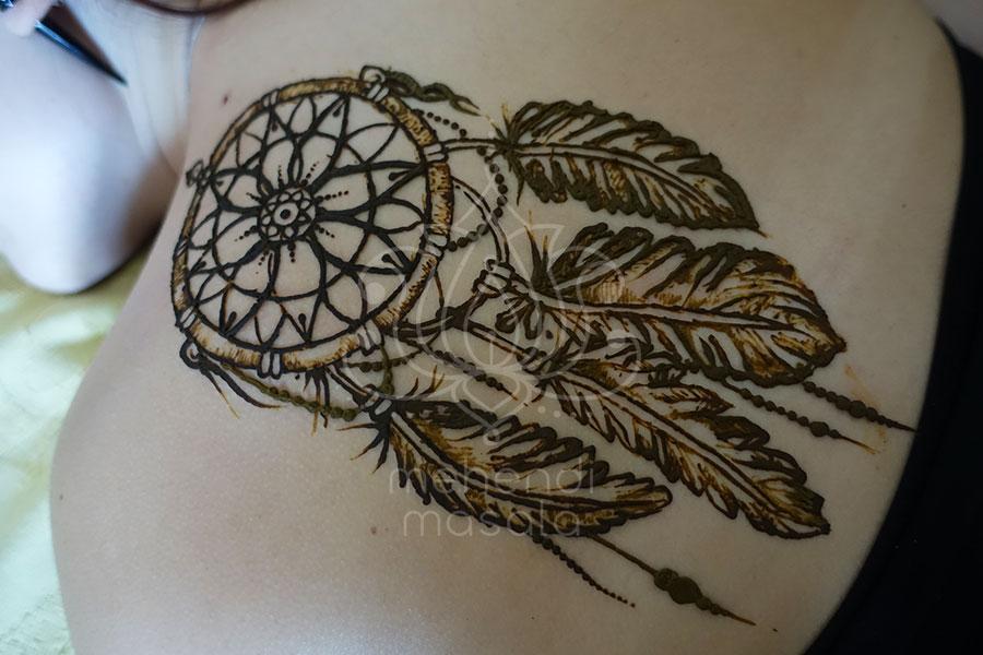 Tatuaż Z Henny Wzory Na Plecach Wzory Mehendi łapacz Snów Na