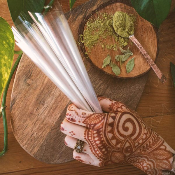 puste rożki z celofanu do henny